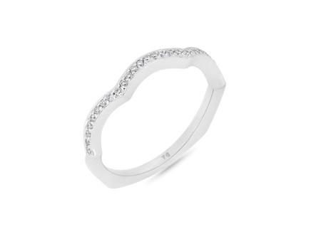 Scalloped Shape Bead Set Diamond Wedding Band