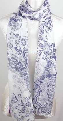 Scarf - Blue Paisley Pattern