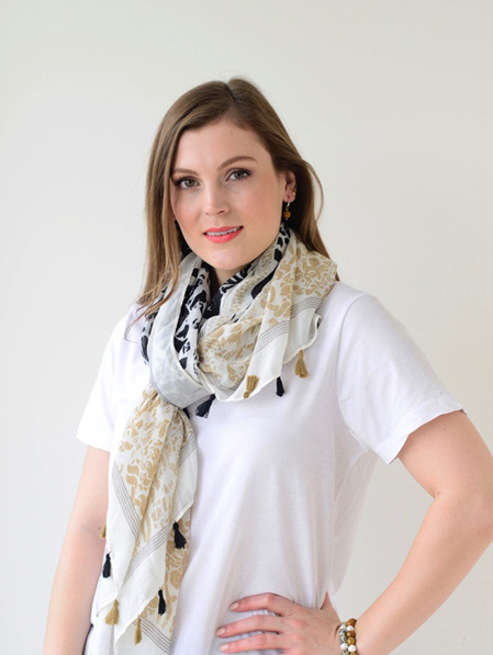 Scarf - Cream, Taupe & Black with Tassels