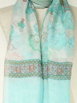 Scarf - Duck Egg, Green & White Floral