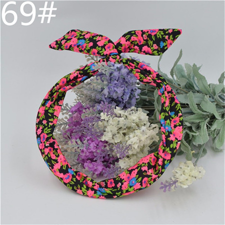 Scarf Headband - Black Bright  Floral  No. 69