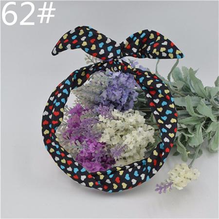 Scarf Headband - Black with Multicoloured Hearts #62
