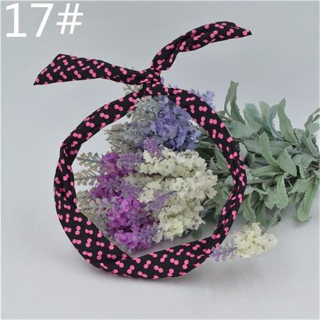 Scarf Headband - Black with Pink Spots  No. 17