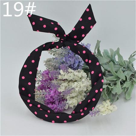 Scarf Headband - Black with Pink Spots  No. 19