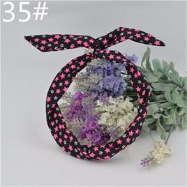 Scarf Headband - Black with Pink & White stars  No. 35