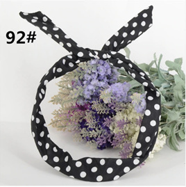 Scarf Headband *Black with White Spot* #92
