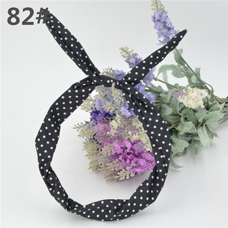Scarf Headband -  Black with White Spots  No. 82