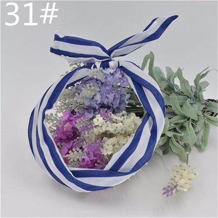 Scarf Headband - Blue & White Stripes  No. 31