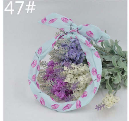 Scarf Headband *Blue with Pink Lips* #47