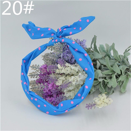 Scarf Headband - Blue with Pink Spots  No. 20
