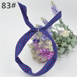 Scarf Headband -  Blue with Pink Spots  No. 83