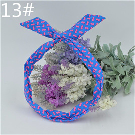 Scarf Headband - Blue with Pink Spots  No. 13