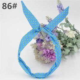 Scarf Headband -  Blue with Yellow Spots  No. 86