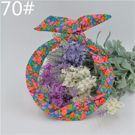 Scarf Headband - Bright Blue Floral  No. 70