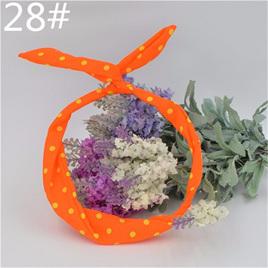Scarf Headband -  Bright Orange Medium Yellow Spots  No. 28