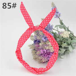 Scarf Headband - Hot Pink with White Spots  No. 85
