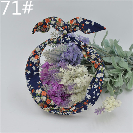 Scarf Headband - Navy with Floral  No. 71