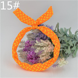 Scarf Headband - Orange with White Double  Spots  No. 15