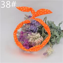 Scarf Headband - Orange with White & Yellow Stars  No. 38