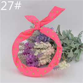 Scarf Headband - Pink with Green  Spots  No. 27