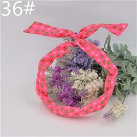 Scarf Headband - Pink with Green & White Stars  No. 36