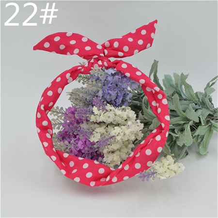 Scarf Headband - Pink with White  Spots  No. 22