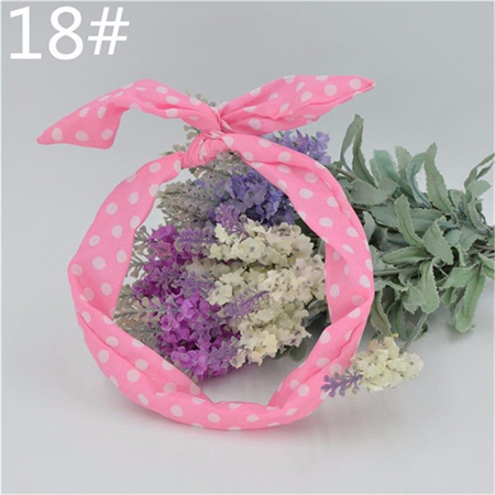 Scarf Headband - Pink with White Spots  No. 18