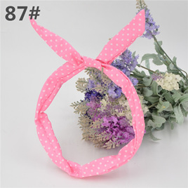 Scarf Headband - Pink with White  Spots  No. 87