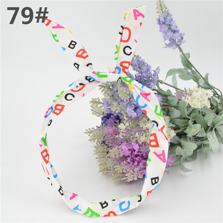 Scarf Headband - WHITE ABC  No. 79