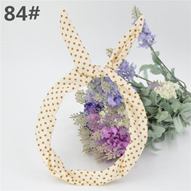 Scarf Headband - White with Brown  Spots  No. 84