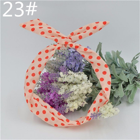 Scarf Headband - White with Red   Spots  No. 23