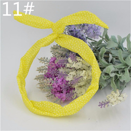 Scarf Headband -  Yellow  with White Spots  No. 11