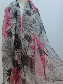 Scarf - Hot Pink, Grey & Black Floral