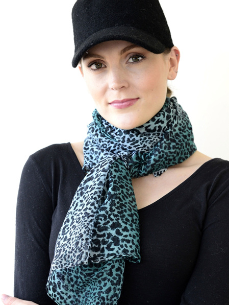 Scarf - Leopard Mint, Forest & Black