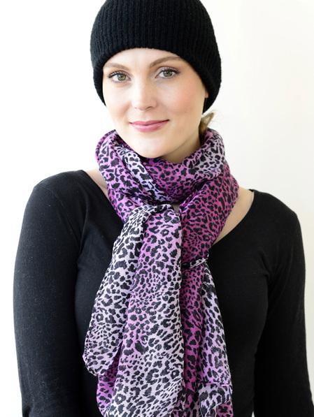 Scarf - Leopard Print Fuschia, Black & Pink