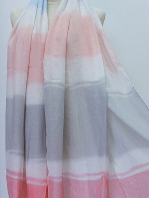 Scarf - Pink, Grey, Blue Pastel Stripe