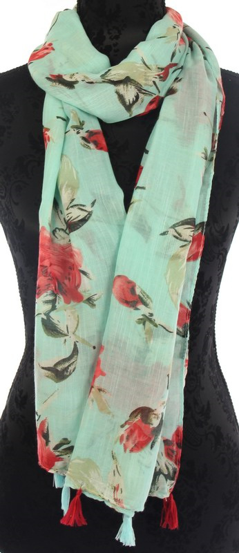 Scarf - Red Roses on Aqua Background