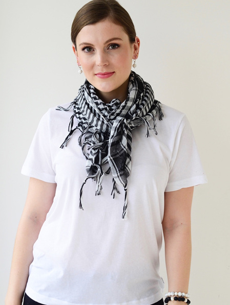 Scarf - Square  Black & White Check Tassel