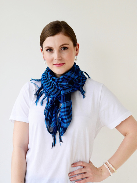 Scarf - Square Blue & Black Check with Tassel