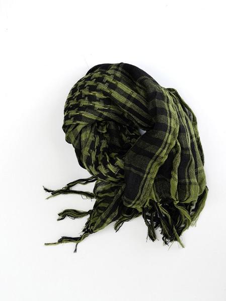 Scarf - Square Olive Green & Black Check Tassels