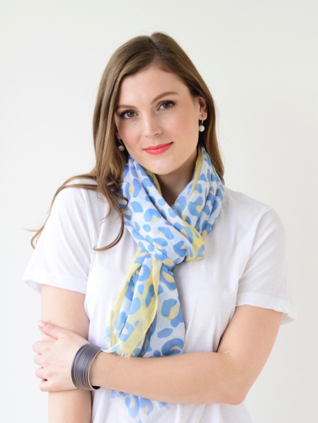 Scarf - White, Blue & Lemon Pastel Animal Print