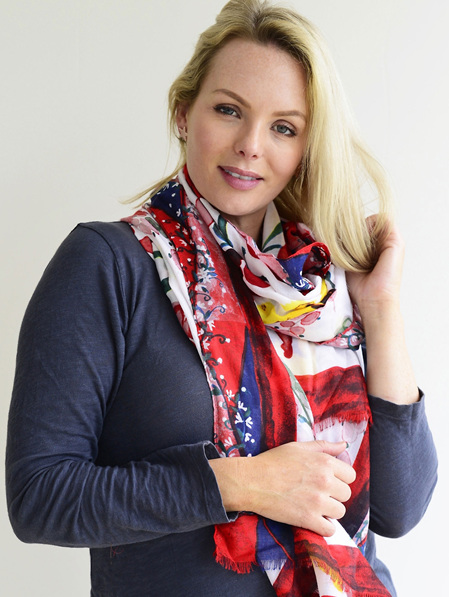Scarf - White Floral, Red, Blue & Yellow
