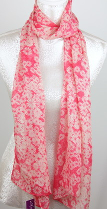 Scarf - White Flowers on Pink Background