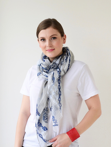 Scarf - White, Navy & Taupe