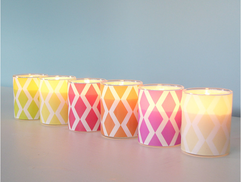 Scented soy glass decal votive candle