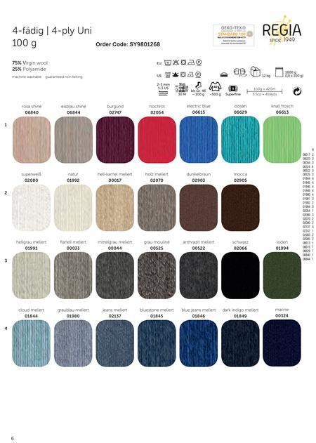 Schachenmayr Regia Sock Yarn Solids 4ply 100g