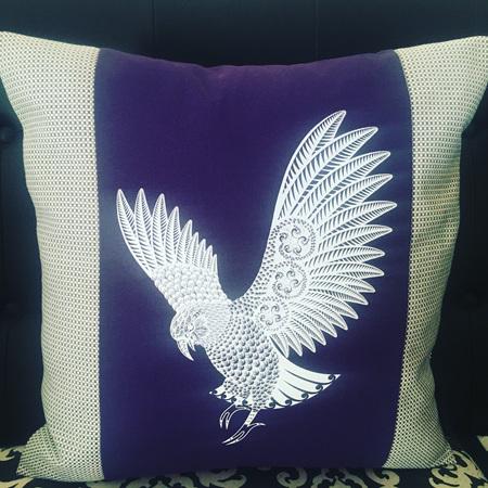Screen Printed Kea - Purple - Cushion Cover