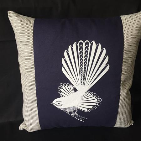 Screen Printed Pīwakawaka - Fantail - Purple - Cushion Cover