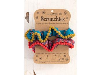 Scrunchie Pom Pom-Pink/Blue