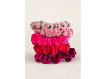 Scrunchies Velvet Set-Red/Pink